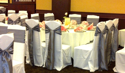 White High Back Chair Covers with Pewter Sashes - Gingeri Chinese Cuisine